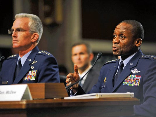 Gen. Paul J. Selva, the nominee for vice chairman for the Joint Chiefs of Staff, and Gen. Darren W. McDew, the nominee for U.S. Transportation Command commander, sit before Congress to testify for their future positions during their nomination hearing July 14. Both were nominated by President Barack Obama and expressed their gratitude for the nomination, and if selected look forward to working together with Congress, the Defense Department, and other branches of the government and military.