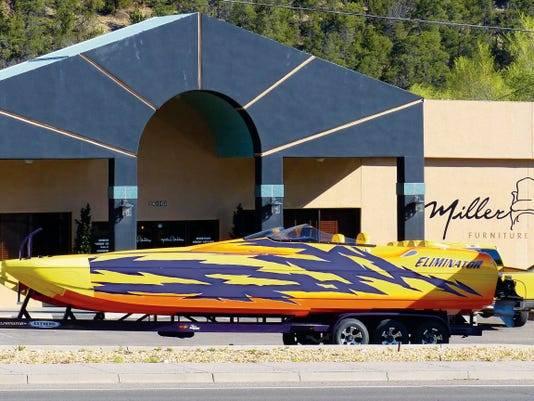 The Eliminator parked next to the Ramada Inn in Ruidoso Sunday was on its way to the 17th Annual Desert Storm Poker Run and Shootout competition at Lake Havasu, owner Roger Lewis said.
