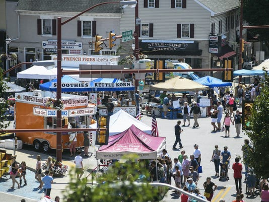 Crowds gather in the square in downtown Hanover for the 31st annual Dutch Festival on July 26, 2014.