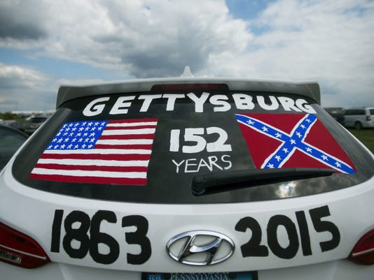 A painted SUV commemorates the 152nd anniversary of the Battle of Gettysburg during the re-enactment events on Friday.
