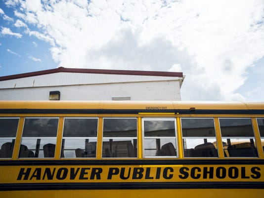Buses to be used for Hanover Public School District are ready at Boyo Transportation in Hanover.