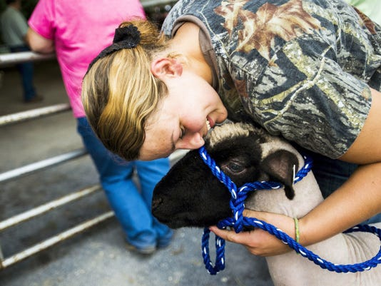 Lindsey Zeigler, of Biglerville, gives a hug to Phoebe, a market lamb, while watching the goat judging competition at the South Mountain Fair on Wednesday in Adams County. Phoebe is owned by Zeigler's friend, Ashlyn Burkholder of Gettysburg, who was competing in the judging.