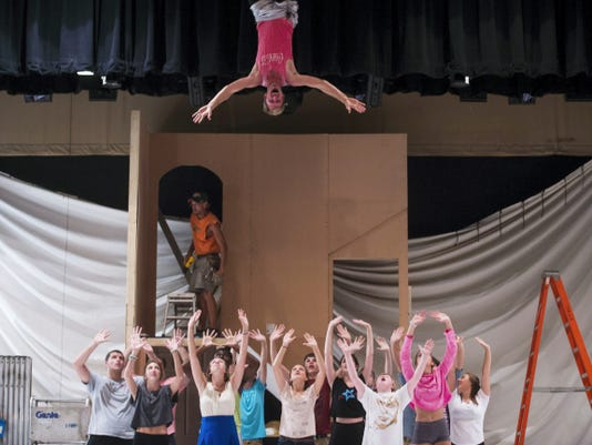 Jay Aburn sings with other cast members during a stunt rehearsal at the Eichelberger Performing Arts Center in Hanover on Wednesday during a rehearsal of Acts of Kindness Theatre Company's production of 'Mary Poppins.'