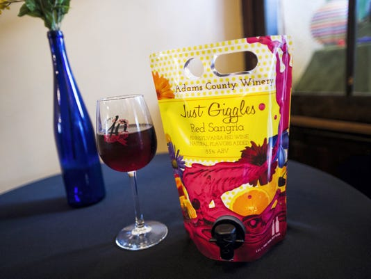 'Just Giggles' is a fruity, red wine that comes in a tapped pouch from Adams County Winery.