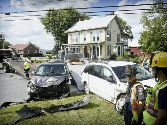 Four children, all wearing swimsuits, and one adult were taken to Good Samaritan Hospital after a two vehicle collision at Fonderwhite Road and South Fifth Avenue in South Lebanon Township Wednesday afternoon. Friendship and Hebron fire companies, Schaeffertown and First Aid and Safety Patrol ambulances and fire police assisted at the scene. An official on the scene reported that all the children were wearing proper restraints but were bruised by their seatbelts during the sudden impact. Both vehicles had to be towed from the scene.