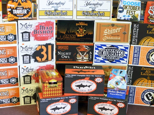 Pumpkin and Oktoberfest beers at DJ's Westgate Beverage in York (West Manchester Township) has more than 30 different kinds of pumpkin and Oktoberfest beers for sale now. ( Kate Penn - FlipSidePA)