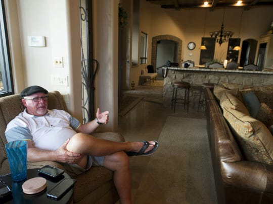 York County's Bruce Arians relaxes in his Chandler, Ariz., home that's part of an upscale golfing community. The desert weather is great for bird watching on his back patio or for golfing, his hobby and passion. His golf clubs haven't minded like they should, though, joked the 5- or 6-handicap. 'A few of them drown. Or break their necks. That's the only thing I can compete at anymore. I used to play racquetball almost every day. Once I had my knees replaced, I couldn't play anymore.'