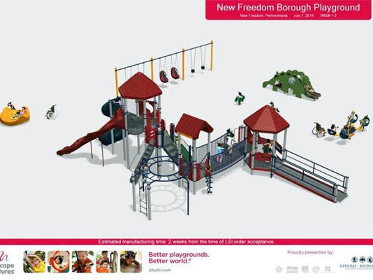 A rendering of what a new, proposed playground at Marge Goodfellow Park in New Freedom would look like. A group of seven women from southern York County have been working for about two raise to raise money for the project.