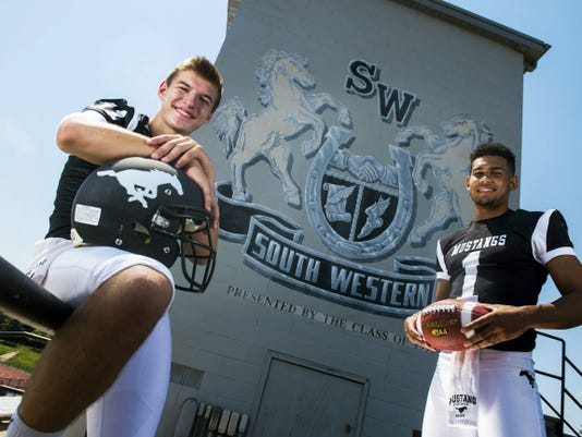 South Western seniors Brock Geiman, left, and Noah Staub have played football together since seventh grade, building an unmistakable connection on the field. Geiman and Staub lead all returning Division I players in passing yards and receiving yards, respectively.