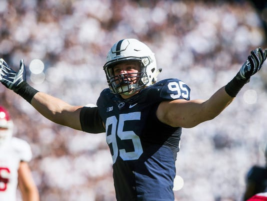 Penn State defensive end Carl Nassib celebrates a sack during the Lions' 29-7 victory over Indiana on Saturday.