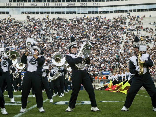 The Penn State Blue Band performs Sept. 26 at Beaver Stadium during the half-time show of Penn State's game against San Diego State.