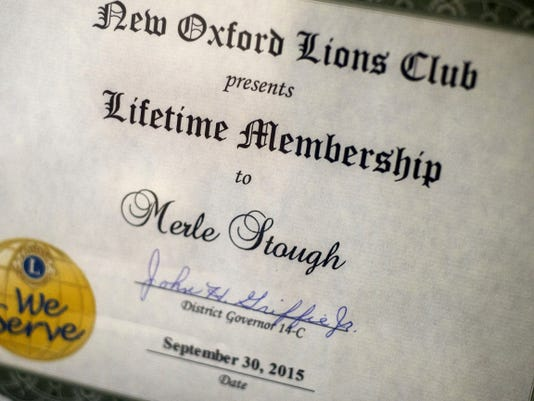 The Lions Club of New Oxford presented Merle Stough, 95, with the Lifetime Membership Award on Sept. 30.