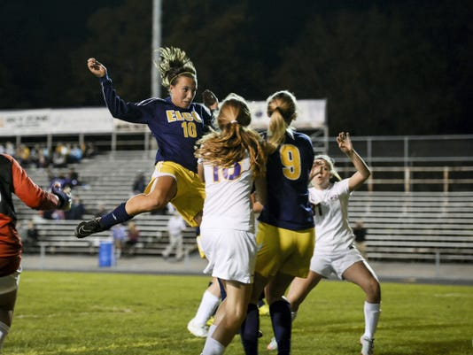 Ryelle Shuey opens the scoring for Elco on this header, which led to a 4-1 Section Three-clinching win against Lancaster Catholic on Wednesday night.