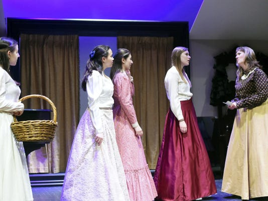 """The James Buchanan High School cast of """"Little Women"""" rehearse for their upcoming shows April 17-19."""