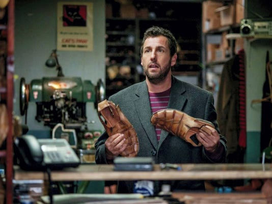 "Adam Sandler is ""The Cobbler"" who here appears to be contemplating a tribute to Fred Astair's ""Shoes with Wings On"" number. Submitted"