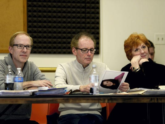 Larry Frenock, producing artistic director at Gretna Theatre  (left) Christian Saint-Girard, resident casting director; director and choreography (center) and Kathryn Kendall, (right),watch an audition in studio A at NOLA Studios on 54th Street in New York City during the open casting calls for the Gretna Theatre's summer season on Tuesday, March 24, 2015.