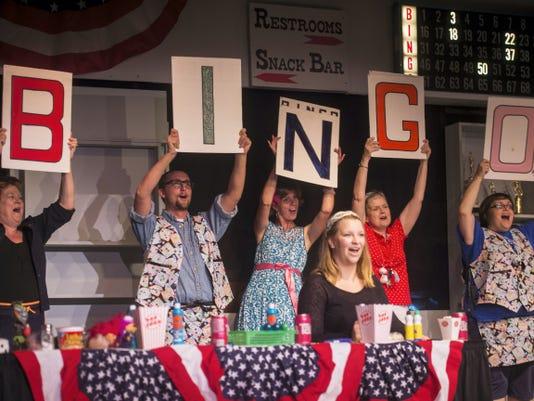 Cast members rehearse a scene from 'Bingo! The Winning Musical' on Tuesday at Hanover Little Theatre. From left: Bonnie Raubenstine, Adam Bish, Nicole Merkel, Sue Williamson, Grace Gravelle and Amalea Williams.