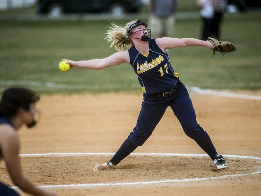 Littlestown's McKenzie Somers pitches against Kennard-Dale Tuesday at Littlestown. Somers struck out seven and walked one in a complete-game effort. She took the loss as Kennard-Dale's Alexis Valentine held the Bolts to one run on six hits.