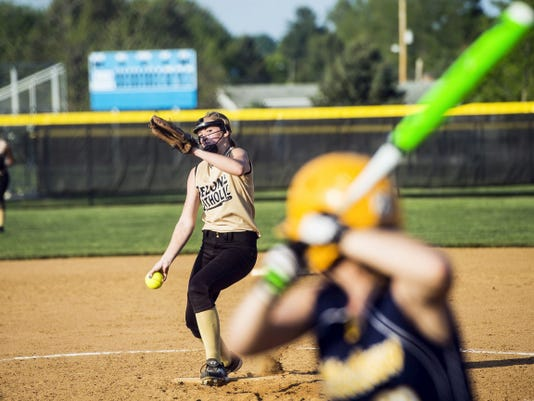 Delone Catholic's Cassie Rickrode pitches against Littlestown Friday during a YAIAA softball semifinal at Spring Grove High School. Rickrode struck out five and held Littlestown to three hits. Delone Catholic advanced to the league championship with a 4-0 win against Littlestown.