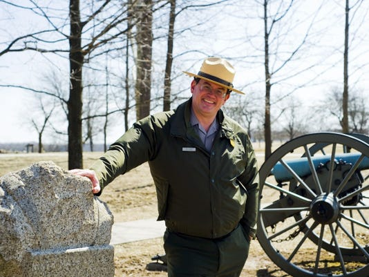 New Gettysburg National Military Park Superintendent Ed W. Clark stands near Ziegler's Grove on Cemetery Hill on March 20.