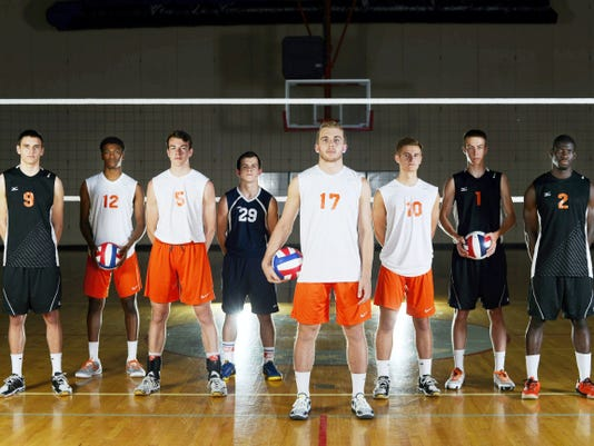 GameTimePA.com's first-team boys' volleyball all-stars are, from left: Central York's Jason Gardner, Northeastern's Jeff Reynolds, Northeastern's Philip White, Dallastown's Owen Terroso, Northeastern's Reese Devilbiss, Northeastern's Matt Schaeffer, Central York's Landon Shorts and Central York's Jeremiah Dadeboe. Read more about the all-stars inside and at GameTimePA.com