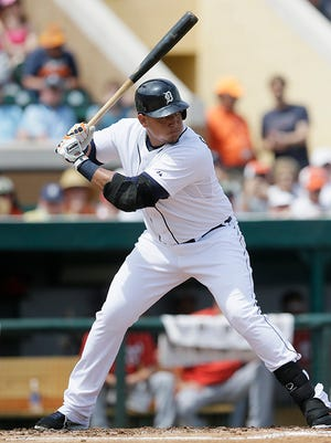 Miguel Cabrera gets in his first at-bat of spring training on Sunday against the Nationals. He struck out swinging.