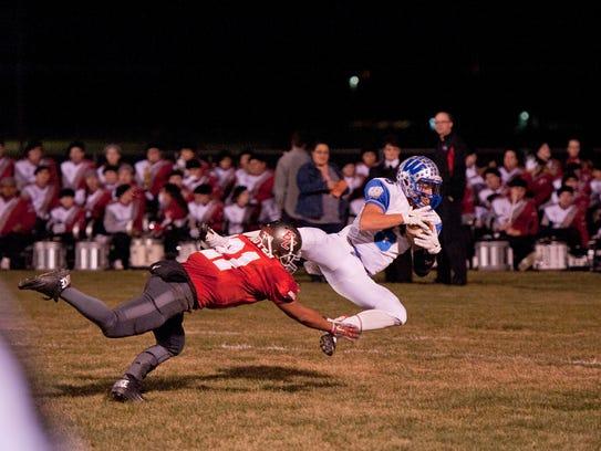 Wynford's Braxton Tea makes a touchdown catch.