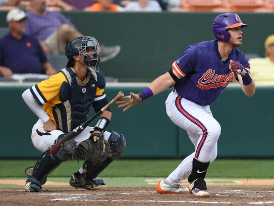 Clemson's Seth Beer homers in the Tigers' 6-3 victory against UNC Greensboro in an NCAA Regional game last June at Doug Kingsmore Stadium.
