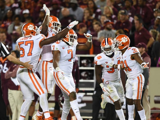 Clemson defensive lineman Austin Bryant (7) celebrates