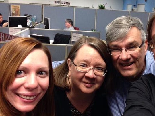 Outgoing Daily Times staffers Laura Emmons, Cindy Robinson, Brice Stump and Todd Dudek selfie on their last day in the newsroom.