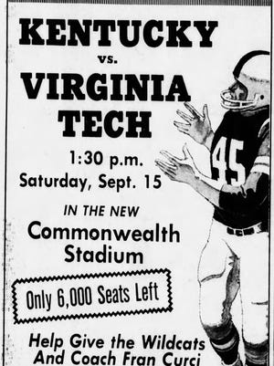 A 1973 advertisement in the Courier-Journal implored fans to buy tickets to the first game at Commonwealth Stadium to support new coach Fran Curci.