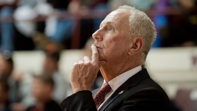 Bellarmine University head basketball coach Scott Davenport watches the basket in the NCAA Division II Midwest regional opener in Knights Hall.11 March 2017