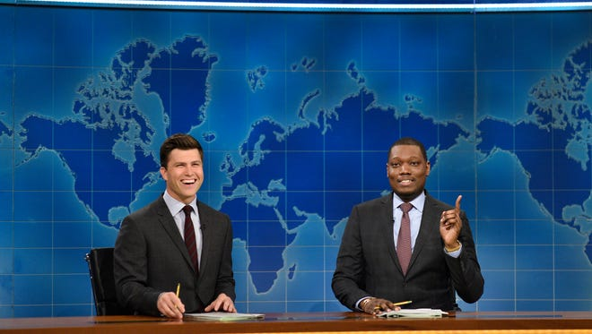 'Weekend Update' anchors Colin Jost, left, and Michael Che are now co-head writers of 'Saturday Night Live.'