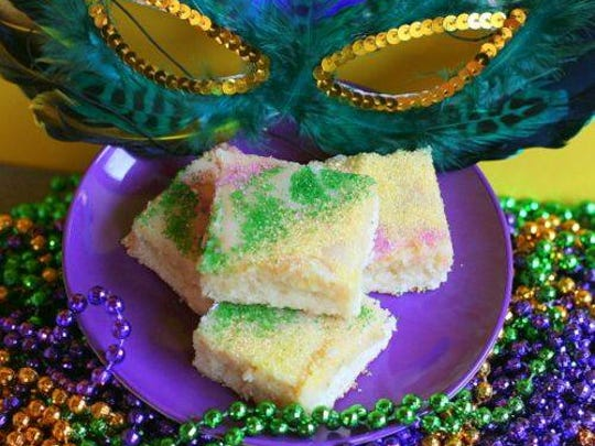 Tummy Yummy Creations in West Monroe offers king cake bars during Mardi Gras season.