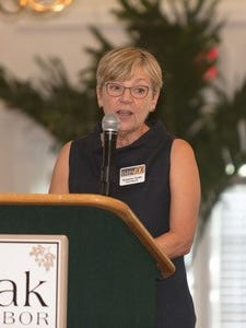 Suzanne Carter, current Impact 100 president, opened the Nov. 8 luncheon by reporting over the past 10 years the local chapter has made 31 grants of $100,000 each to local not-for-profits, as well as 21 smaller grants.