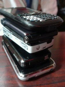 The phone stack helps keep diners focused on face-to-face interactions.