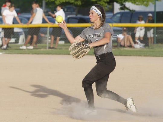 Ankeny Centennial second baseman Lauren Birt makes