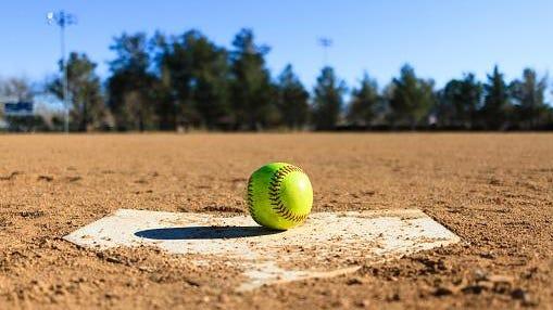 Softball in a softball field in California mountains