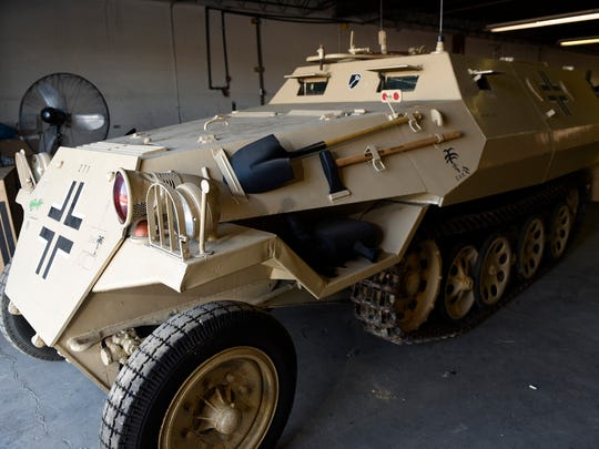 Auctioneer Clayton Armstrong, 610 Fifth Avenue, Chambersburg, is preparing to auction items, including the 1940s model German Half track, pictured,  from the estate of Richard (Dick) Bowman.