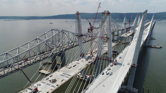 This is the westbound span of the replacement for the Tappan Zee Bridge, the Mario Cuomo Bridge in N.Y. taken July 18, 2017.
