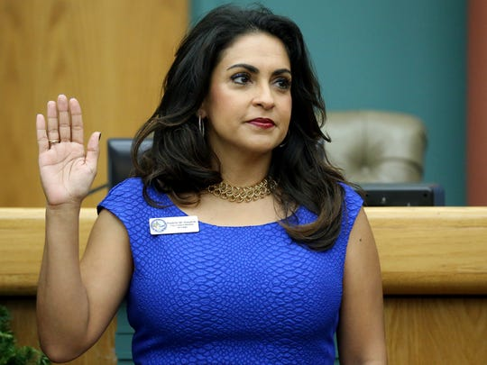 City Councilwoman Paulette Guajardo takes her oath of office Tuesday, Dec. 13, 2016, at City Hall in Corpus Christi.