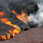 Watch lava from Hawaii's Kilauea volcano swallow a Ford Mustang