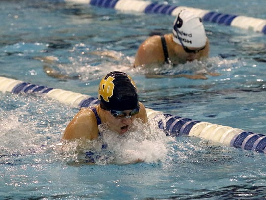 Notre Dame's Catherine Craig swims in the 200 IM consolation
