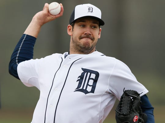 Tigers pitcher Luke Putkonen throws live batting practice at spring training Feb. 25 in Lakeland Fla.