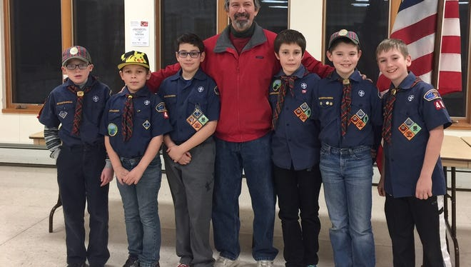The Lansing Pack 48 Webelos II met with Town Supervisor Ed LaVigne to meet the requirements for the 'Building a Better World' adventure. All the boys will be advancing from Cub Scouts to Boy Scouts at the end of March. Pictured from left to right are Michael Chambers, Dominic Loga, Devin Richardson, Ed, Scott Coonrod, Dominick Ronsvalle and Stephen Geise.