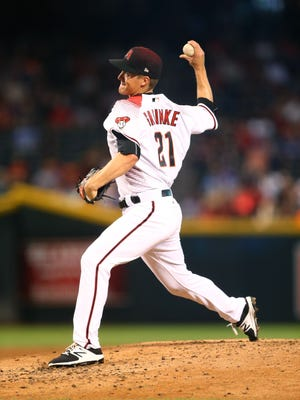 Aug 14, 2017: Arizona Diamondbacks pitcher Zack Greinke throws in the second inning against the Houston Astros at Chase Field.
