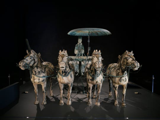 """A replica of """"Chariot No. 1"""" in the new Terracotta Army: Legacy of the First Emperor of China exhibit at the Cincinnati Art Museum in the Mount Adams neighborhood of Cincinnati on Thursday, April 19, 2018."""