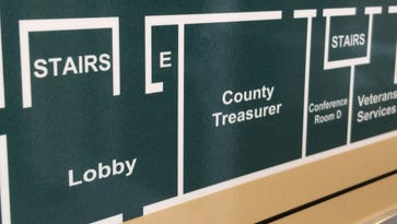 A map in the County-City Building shows the location of the Portage County Treasurer's Office.