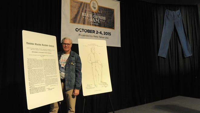 "Chris Baum, CEO of the Reno-Sparks Convention and Visitors Authority, unveiled details for a new special event Wednesday at the convention center. Blue Genes Jam, a celebration of all things denim, recognizes the invention of riveted denim ""blue jeans"" by Reno tailer Jacob Davis in the early 1870's. Baum is shown with a drawing Davis and a copy of his patent. The event is scheduled for Oct. 2-4, 2015, with events including rock and country music concerts, a ""Blue Jean Ball"" benefitting the Nevada Humane Society and historical presentations on the impact of jeans on popular culture."