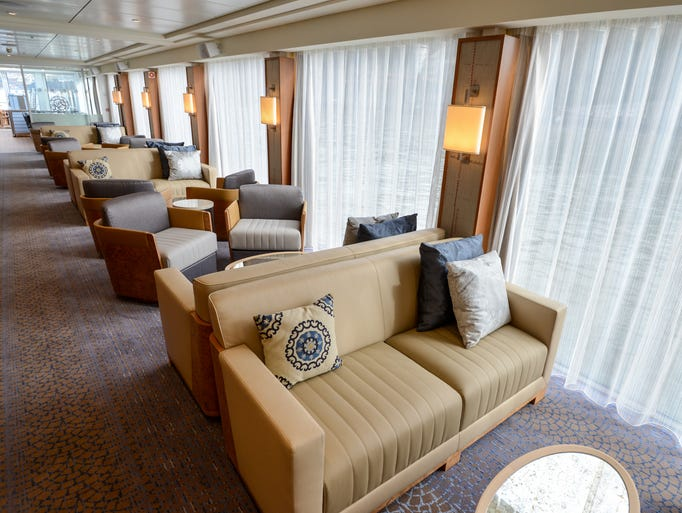 Floor-to-ceiling windows in the Viking Herja lounge